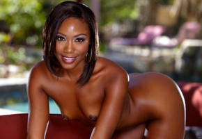 chanell heart, nipples, doggy, smile, ebony, exotic, ass, nude, small tits