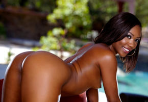 chanell heart, doggy, ebony, exotic, ass, nude, smile, small tits