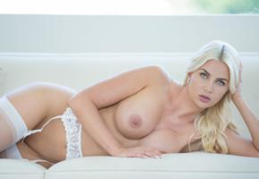 big boobs, lingerie, couch, boobs, big tits, white stockings, stockings, hot, tanned, blonde, unknown