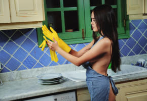 li moon, sexy, brunette, kitchen, kiki, gloves, annika a, lee moon