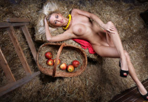 hay, barn, boobs, tits, big tits, nude, legs, heels, apple, sexy, apples, basket, necklace