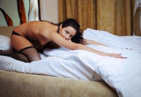 ardelia a, brunette, bed, eyes, stockings, garter belt, fishnet, tits, tanned, alina p, ardelia