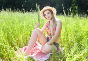 avery, teen, jean shorts, field, cute, outdoors, denim shorts, straw hat, hat, non nude