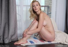 amaris, blonde, eye contact, curtains, nude, window, boobs, tits, legs, feet, koko, kortney y, olena, koko amaris