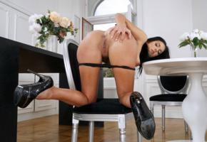foxxi black, brunette, kitchen, chair, naked, doggy, panties, high heels, boobs, big tits, nipples, shaved pussy, labia, ass, anus, hi-q, tanned, pussy