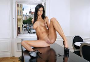 foxxi black, brunette, kitchen, table, naked, boobs, big tits, nipples, trimmed bush, pussy, labia, spread legs, reflection, high heels, hi-q, tanned