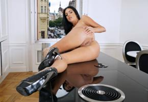 foxxi black, brunette, kitchen, table, naked, boobs, big tits, nipples, pussy, labia, ass, anus, high heels, hi-q, tanned, meat curtains