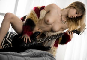 alexandra smelova, boobs, tits, nipples, nude, guitar