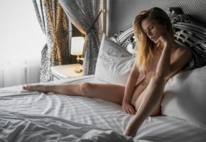 alexandra smelova, boobs, tits, nipples, nude, shaved pussy, spreading legs, bed, pillows