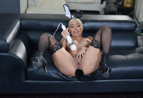 porn star, butt plug, vibrator, pussy, aaliyah hadid, labia, boobs, tits, spreading legs, stockings, black stockings