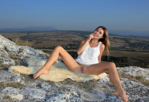 georgia, viva, susza k, brunette, outdoors, sheepskin, dress, bottomless, shaved pussy, labia, spread legs, tanlines, smile, hi-q