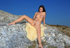 georgia, brunette, outdoors, sheepskin, tanlines, naked, boobs, big tits, nipples, shaved pussy, labia, spread legs, hi-q