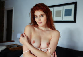 adel c, adel, freckles, redhead, bed, lingerie, boobs, tits, nipples, heidi romanova, vanessa, heidi, heidi r