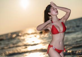 sexy, girl, asian, cute, sweet, bikini, sea, swimsuit, red bikini