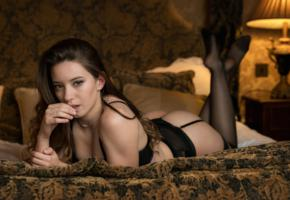 chica, girl, sexy, lingerie, stockings, bed, pillows, black stockings, ass, black lingerie