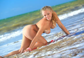 beach, blonde, ass, pussy, smile, sea, boobs, big tits, doggy, nude, alessandra a