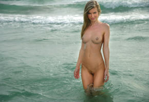 beach, blonde, pussy, wet, sea, trimmed pussy, boobs, tits, nipples, marketa belonoha