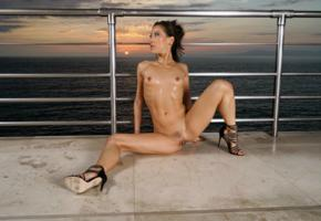kalina ryu, brunette, sea, sunset, naked, boobs, tits, nipples, trimmed bush, pussy, labia, spread legs, oiled, stiletto heels, hi-q, tanned, wet