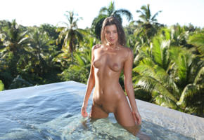 maria ryabushkina, maria, tara, melena, maria rya, brunette, pool, wet, tanned, naked, boobs, tits, nipples, shaved pussy, labia, tattoo, smile, ultra hi-q