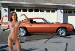 paige owens, brunette, car, 1974, camero z28, naked, muscles, boobs, tits, nipples, shaved pussy, labia, smile, hi-q