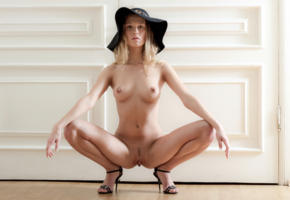trinity, blonde, naked, hat, boobs, tits, nipples, landing strip, pussy, labia, squatting, spread legs, high heels, hi-q