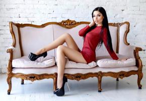 model, black hair, long hair, sensual lips, dress, short dress, high heels, stilettos, sofa, soft focus, no nude, legs