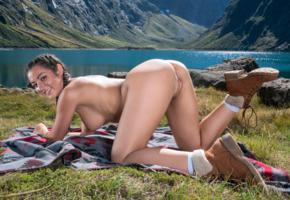lily adams, brunette, pigtails, mountains, lake, doggy, naked, boobs, big tits, shaved pussy, labia, ass, boots, smile, hi-q