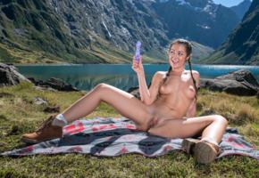 lily adams, brunette, pigtails, mountains, lake, naked, dildo, boobs, big tits, nipples, shaved pussy, labia, spread legs, boots, smile, hi-q