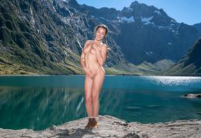 lily adams, brunette, pigtails, mountains, lake, naked, boobs, big tits, nipples, shaved pussy, boots, smile, hi-q