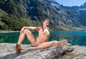 lily adams, brunette, pigtails, mountains, lake, naked, boobs, big tits, nipples, shaved pussy, labia, spread legs, boots, smile, hi-q