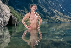 lily adams, brunette, pigtails, mountains, lake, naked, wet, boobs, big tits, nipples, reflection, smile, hi-q