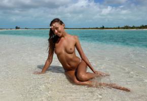 katya clover, clover, beach, tits, sea, mango a, caramel, legs, nipples, boobs, tanned, topless, wet, smile