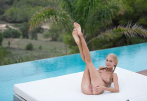 nancy ace, nancy a, jane f, erica, blonde, pigtails, pool, naked, boobs, tits, nipples, pussy, labia, ass, anus, legs up, smile, hi-q