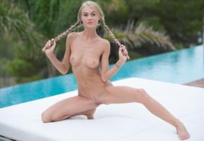 nancy ace, nancy a, jane f, erica, blonde, pigtails, pool, naked, boobs, tits, nipples, landing strip, pussy, labia, spread legs, tattoo, hi-q