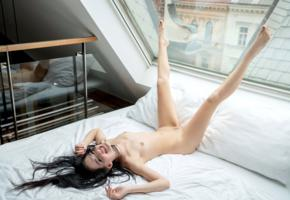 anie darling, annie darling, aneta, aneta l, ani darling, model, dark hair, long hair, pretty, smile, tits, legs, legs up, window, reflection, bed, bedroom, nude, pillows