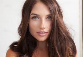niemira, face, beauty, green eyes, brunette, lips