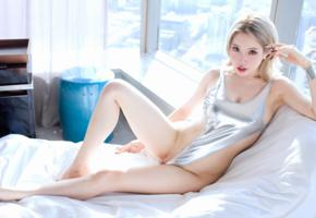 huang le ran, asian, sexy, lingerie, swimsuit, blonde, legs, shaved