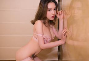 huang le ran, asian, sexy, lingerie, reflection, tattoo, bra, brunette, nipples pasties, pasties