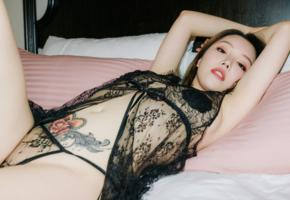 huang le ran, asian, sexy, lingerie, bed, pillows, tattoo, brunette, panties, nipples pasties, pasties