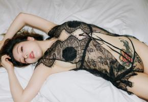 huang le ran, asian, sexy, lingerie, bed, tattoo, brunette, panties, nipples pasties, pasties