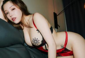 huang le ran, asian, sexy, lingerie, brunette, boobs, tits, nipples pasties, pasties