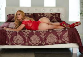 ass, lingerie, bed, red lingerie, blonde, red heels, unknown