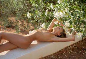 katya clover, clover, mango, caramel, mango a, brunette, outdoors, flower, naked, tanned, boobs, tits, nipples, ultra hi-q