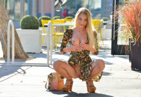 riley, blonde, outdoors, dress, naked, boobs, tits, nipples, shaved pussy, labia, spread legs, squatting, high heels, smile, handbra