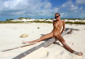 katya clover, clover, mango, caramel, mango a, brunette, beach, log, naked, tanned, boobs, tits, nipples, shaved pussy, labia, spread legs, sunglasses, smile, hi-q, tattoo
