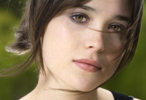 ellen page, beautiful, face, portrait, brunette