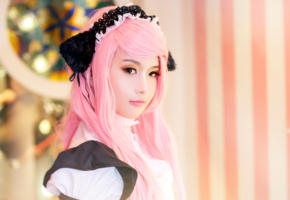 unknown, cosplay, perfect skin, pink hair, cute, asian, young