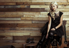 olivia holt, blonde, guitar, red lips, black dress