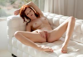 mia sollis, model, redhead, long hair, freckles, tits, open legs, pussy, shaved pussy, labia, legs, polished nails, sofa, nude