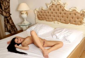 kate rich, model, pretty, babe, dark hair, long hair, tits, open legs, pussy, shaved pussy, labia, bed, bedroom, headboard, nude, pillows